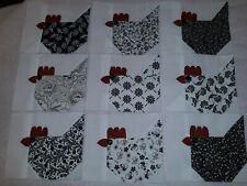 9 - 6x5 inch Chickens Quilt Blocks Tops