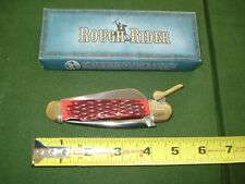 ROUGH RIDER POCKET KNIFE w/BLADE, LEATHER PUNCH & CHAIN HOOK, NEVER USED, w/BOX