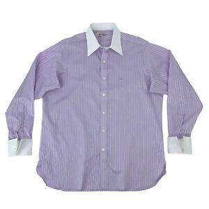 Turnbull & Asser Dress Shirt Men's Size L Mauve/White Striped Long Sleeve Cotton
