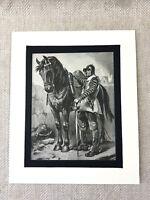 1900 Antico Militare Stampa Oliver Cromwell Ironside Cavallo Soldier