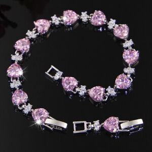 New Xmas Jewelry Gifts Lovely Heart Shaped Pink Topaz Gems Silver Bracelets 7.5'