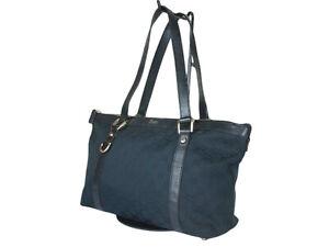 GUCCI GG Web Canvas Leather Black Shoulder Bag GS2456