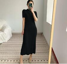 2021 new ISSEY MIYAKE pleated short-sleeved long dress