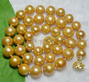 18.5inches 9-11mm Natural real round south sea golden yellow pearl necklace 14K