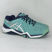 Asics Womens Gel Resolution 6 E550Y Blue Tennis Shoes Lace Up Low Top Size 7.5