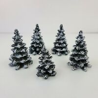5 Mervyn's Village Square Christmas Trees Green Flocked Snow Covered 1994