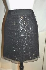 Monogram Skirt Black, three layers, mesh, sequins, lining Size 12 NEW