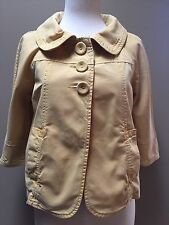SANCTUARY Anthropologie Mustard Yellow 3 Button Up Cropped Jacket Size XS