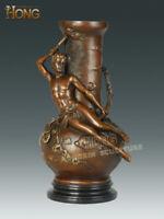 12'' Art Deco Sculpture Man Hold Torch Flowers Vase Bronze Statue