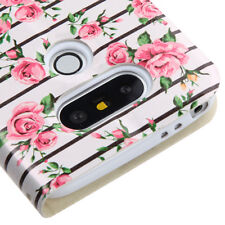 for LG G5 - PINK STRIPE FLOWERS Bling Credit Card Wallet Pouch Folio Case Cover