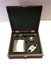 Flask and Cigar Holder 4 Piece Gift Set in Wooden Box Father's Day Stainless