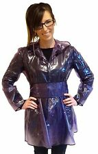 QUALITY LADIES PVC RAINCOAT JACKET MAC RAIN 40'S STYLE COAT PURPLE  XL FR18