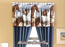 "COASTAL WESTERN PONY HORSE Equestrian WINDOW Treatment  16""x 84"" Curtain VALANCE"