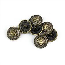 5PCS Quality Bronze Metal Lion Carving Shank Buttons Coats Craft DIY 17 20 25 MM