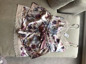 Boux Avenue Ladies Size 6 Satin Pyjama Nightwear Blush Floral Lace Cami Shorts