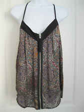 Allen B zip up T-back geometric cami tank NWOT Sz L