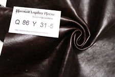 """Smooth Operator Brown"" Leather Cowhide Remnant - Appx 2 sqft Q86Y31-5"