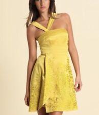 Karen Millen Satin G1 Womens Embroidered Mustard Dress Size 10 One Shoulder
