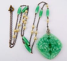 Vintage Art Deco Peking Glass and Faux Pearl Lavaliere Necklace