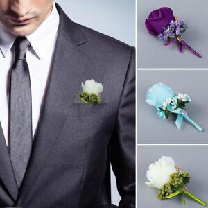 Wedding Party Artificial Flower Groom Boutonniere Man Rose Corsage Suit Decor