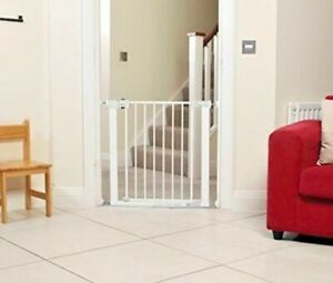 Metal Stair Gate Door No Drill Safety Baby Toddler Pet Child Room Barrier Fence