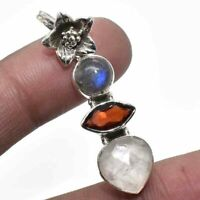 Rose Quartz Garnet Labradorite 925 Sterling Silver Pendant S.1'' to 2''