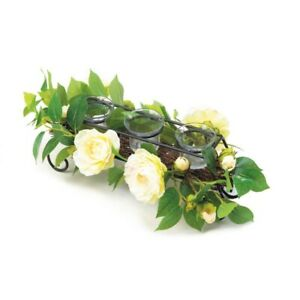 White Faux Floral Candleholder Centerpiece