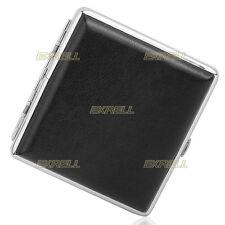 Porta Sigarette Pacchetto Tascabile Nero in Metallo Cuoio Capacità 20pz ex1l