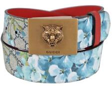 New Gucci Men's $480 546384 Blue GG Blooms Feline Plaque Buckle Belt 34 85 M