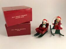 Set of 2 Avon Christmas Tree Ornaments Jolly Penguin Rocking Horse & Sleigh Nib