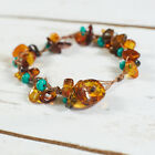 Genuine Natural Baltic Amber Bracelet Raw Beads Brown Turquoise Amber Clasp Knot