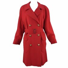 BURBERRY Prorsum Classic Red Wool Cashmere Belted Trench Coat Gilt Buttons XXL