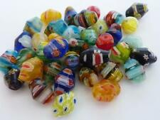 35 pce Vibrant Mix Colour Oval Bicone Millefiori Glass Beads 10mm x 8mm