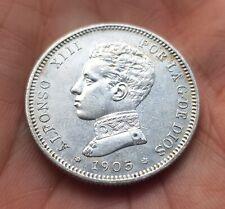ESPAÑA 2 PESETAS 1905 *19 / 05 SMV ALFONSO XIII moneda de PLATA KM.725 Spain XF