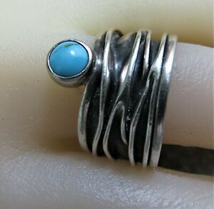 HUGE! TAXCO, Silver & Turquoise Ring.  Sz  T/U.  Ref: xaed