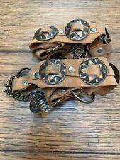 Vintage Boot Bracelet Signed Brown Leather And Brass Metal Medallions