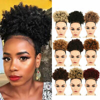 Afro Ponytail Puff Drawstring Wrap Synthetic Short Curly Hair Bun Updo Chignon