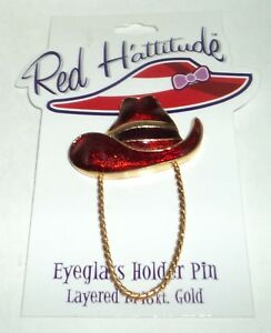 Rouge Hattitude Lunettes Support Broche Superposé En 18kt or Neuf & Cardé