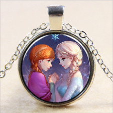 FROZEN PENDANT Silver Plated CHAIN NECKLACE ROYAL PRINCESS Anna & Elsa #02