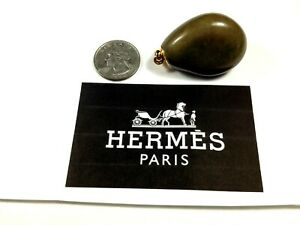 HERMES (Genuine) stone pendant with HERMES plated gold finding, #15286
