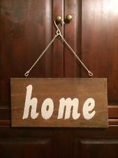 """Barn Wood Painted Sign """"home"""" on White Chain"""
