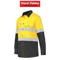 Mens Hard Yakka Koolgear Long Sleeve Work Shirt Y07740 Hi-Vis 2 Tone Lightweight