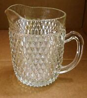 Vintage Indiana Glass Heavy Clear Diamond Point Water Pitcher Exceptional