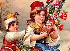 Antique Best Wishes Postcard~CHILDREN ICE SKATING, HOLDING ROSES~Glitter~Germany