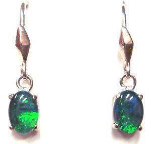 Australian Natural Black Triplet Opal Earring 6.58ct 7x5mm Green Colour