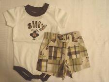 Gymboree Baby Boys 0-3 Month Monkey Trouble Shorts Bodysuit Outfit NWT