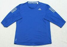 Adidas Three Stripe Running Blue & White Small Tee T-Shirt Top Polyester Mens