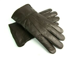 Mens Quality Soft Real Dark Brown Leather Everyday Driving Gloves Fully Lined