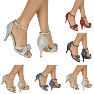 NEW LADIES DIAMANTE HIGH HEEL PEEP TOE ANKLE STRAP EVENING PARTY SHOES SIZES 3-8