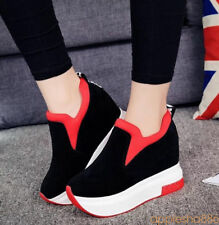 Women Platform Hidden Wedge Shoes Casual Flat Sneakers High Top Ankle Boots
